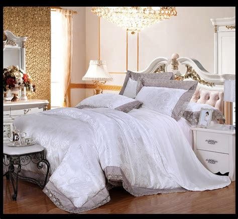 queen size white comforter white lace bedding set luxury jacquard satin comforter