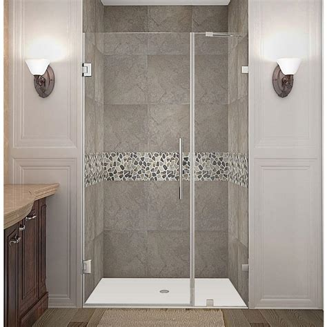 Swinging Glass Shower Door Aston Nautis 38 In X 72 In Frameless Hinged Shower Door In Stainless Steel With Clear Glass