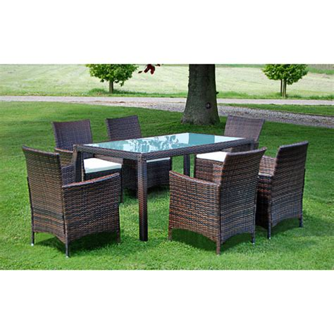 Brown Brown Poly Rattan Garden Furniture Set 1 Table 6 Poly Wicker Outdoor Furniture