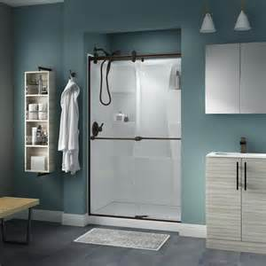 Contemporary Shower Doors Delta Crestfield 48 In X 71 In Semi Frameless Contemporary Sliding Shower Door In Bronze With