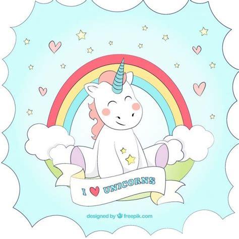 imagenes sobre unicornios fondo de unicornio dibujado a mano con un arcoiris vector