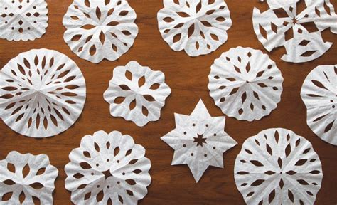 snowflake pattern coffee filter snowflake arts and crafts for your classroom or home