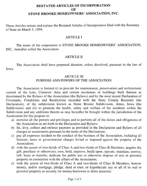 sle of articles of incorporation articles of incorporation stonebrooke new org
