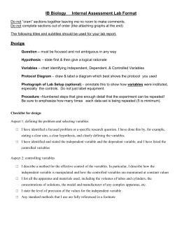 design lab ib biology ib chemistry ia checklist