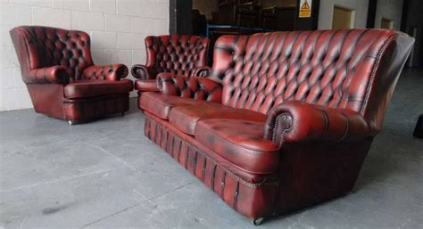 used sofa birmingham ox blood red leather 3pc chesterfield wingback sofa set we