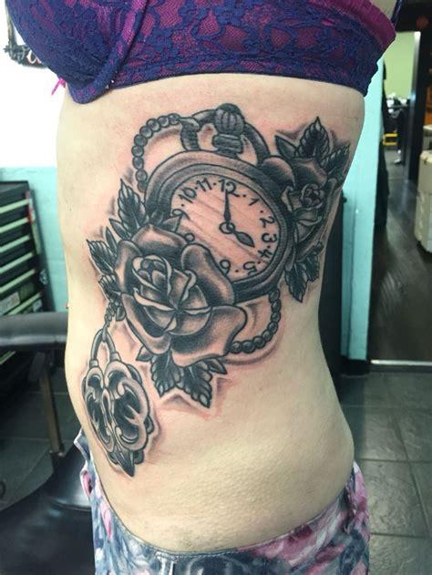 rose locket tattoo rib clock lock locket black white
