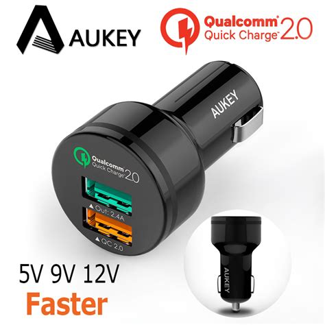 Aukey 2 Port Car Charger Charge 30 Cc T8 Original charge aukey cc t1 2 0 30w cell phone car charger adapter 2 ports usb micro cable for