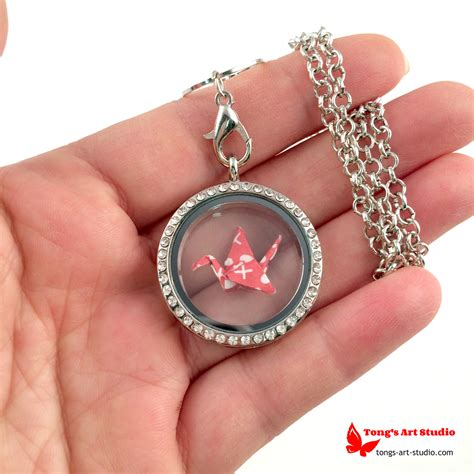 Origami Necklace Locket - silver tone and white origami lucky crane necklace