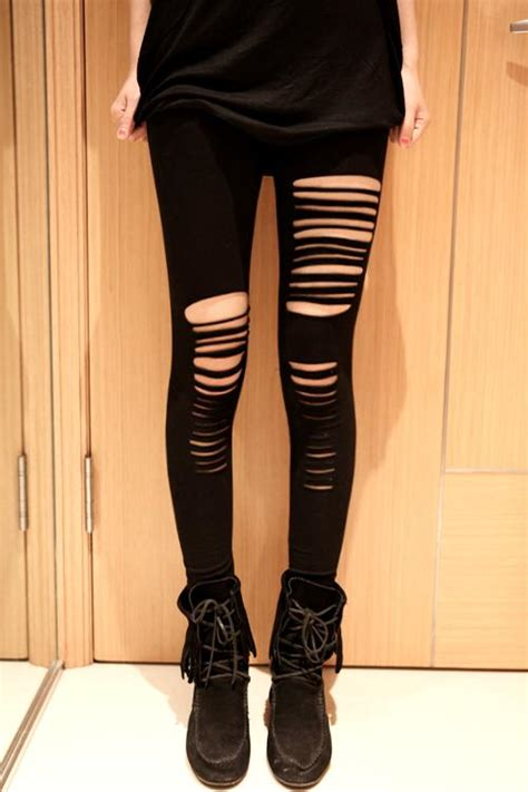 Legging Ripped ripped black