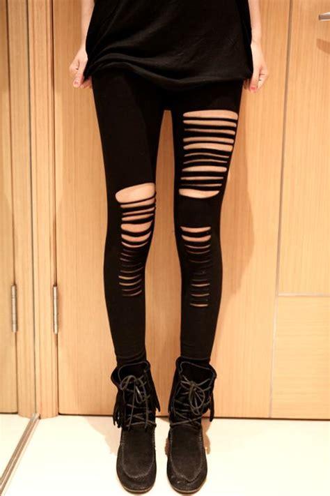 black fantasy stretch microfiber asymmetric ripped leggings