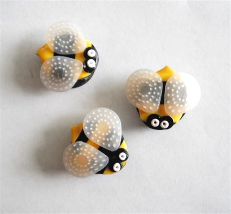 Handmade Magnets - magnets stinger bees handmade polymer clay magnets