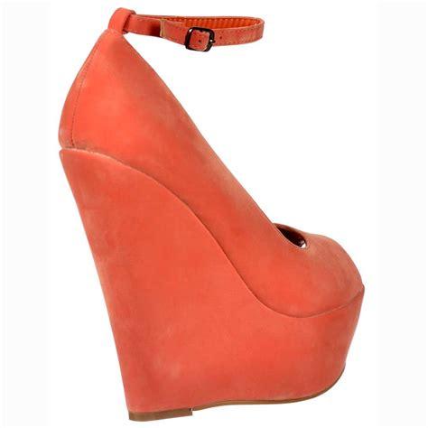 onlineshoe coral suede wedge peep toe platform shoes ankle