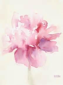Silk Peonies In Vase Pink Peony Watercolor Paintings Of Flowers Painting By