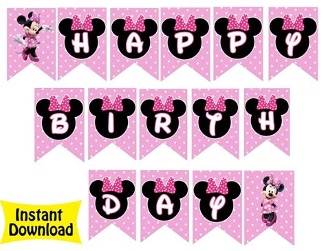 printable minnie mouse birthday banner free minnie mouse bowtique birthday banner 4 99 minnie mouse