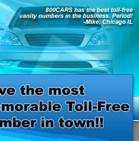 Toll Free Vanity Number 800cars toll free vanity numbers for car dealers ad agencies direct mailers and
