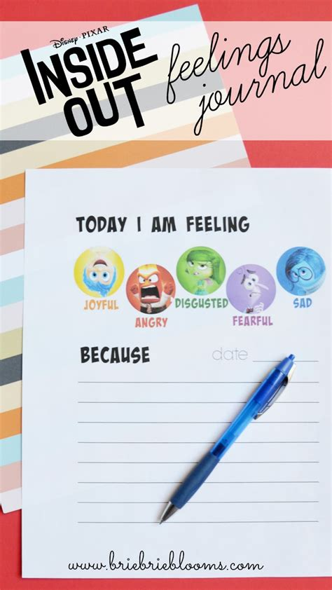 printable food and feelings journal free printable inside out feelings journal brie brie blooms