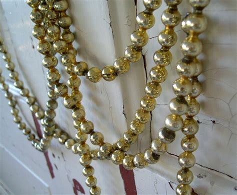 vintage gold glass bead christmas tree garland by