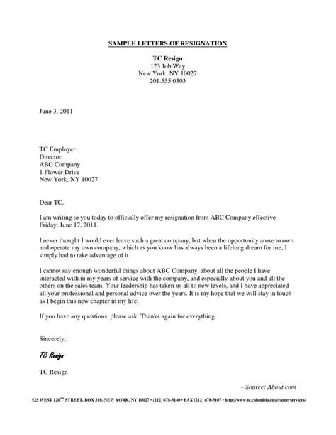 Resignation Letter Sles Download Pdf Doc Format Letter Format Exles