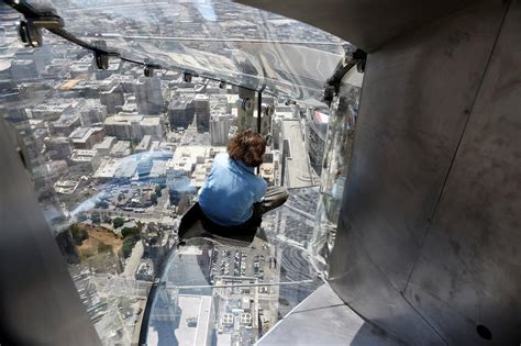 glass slide skyscraper don t look down skyslide opens 300m above los angeles