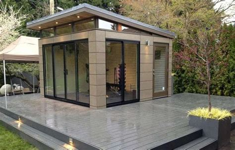 modern backyard shed exterior sliding glass door on modern shed design ideas