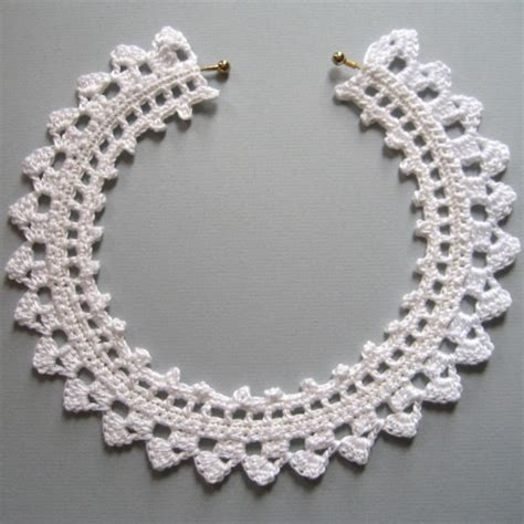 necklace pattern pinterest white crochet lace choker necklace by knittingguru