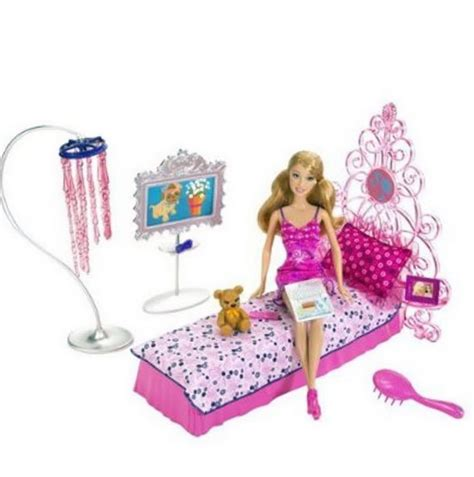 barbie doll bedroom set barbie bedroom furniture and doll set mattel x7941 md toys