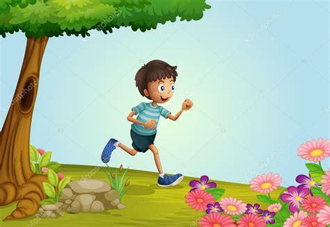imagenes de jardines de niños animados un chico corriendo en jard 237 n vector de stock