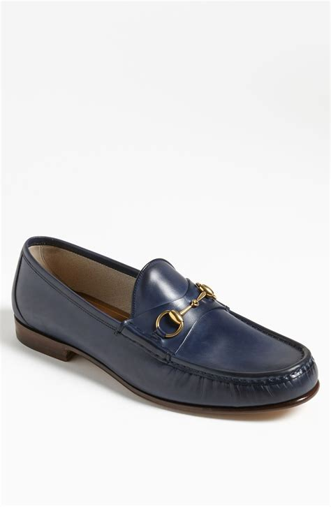 gucci bit loafers gucci roos bit loafer in blue for maritime blue lyst