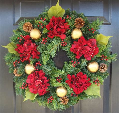 holiday wreath holiday wreath hydrangea wreath christmas wreath winter