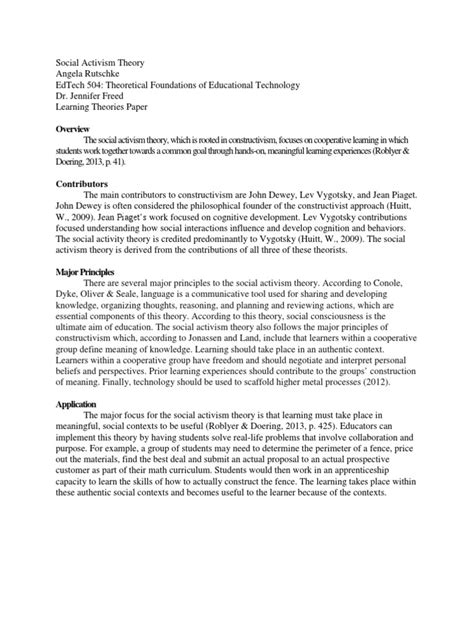 Learning Theory Essay by Edtech 504 Learning Theories Paper Constructivism Philosophy Of Education Learning