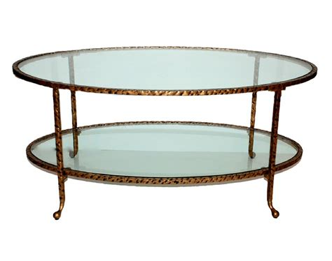 Oval Glass Coffee Table Antique Gold Hammered Iron Oval Coffee Table With Glass Dessau Home Me3035
