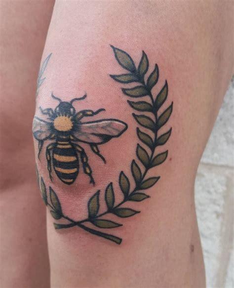 bees knees tattoo lovely small bee leaf vine made on knee