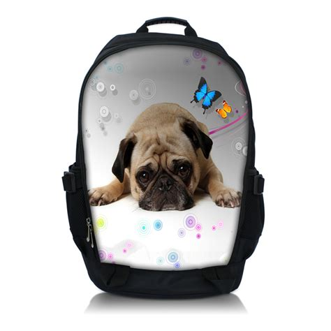 thinking pug print laptop backpack school book backpack