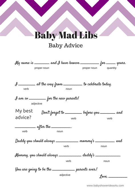 Baby Boy Shower Mad Libs Free by Free Baby Mad Libs Baby Advice Baby Shower Ideas