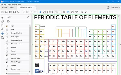 printable periodic table to fill in printable layered periodic table pdf