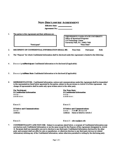 non disclosure statement template non disclosure agreement pennsylvania free