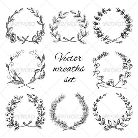 small decorative drawings hand drawn wreaths set hand drawn symbols and wreaths