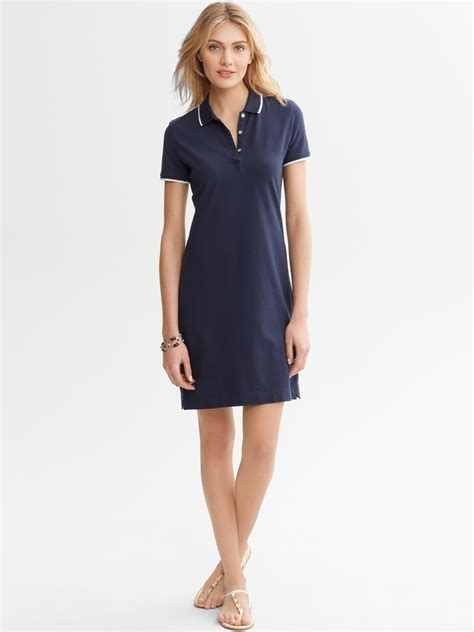 Basic Dress Polos By Rh Collection banana republic tipped polo dress in blue basic navy lyst