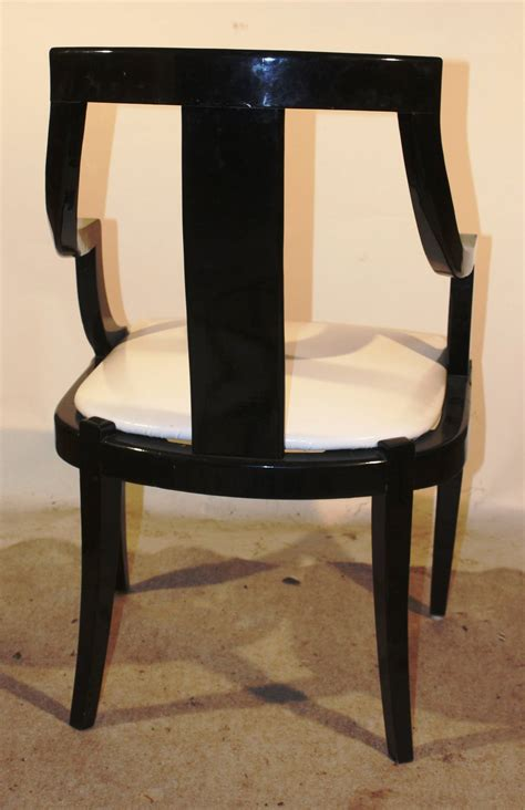 set of six black lacquer dining chairs at 1stdibs
