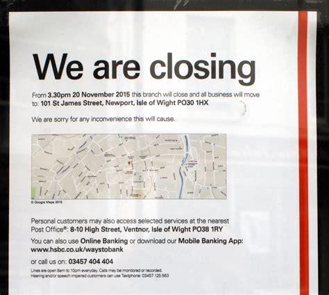 Closing Notice Letter hsbc ventnor closing in november