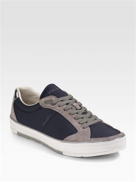 prada sneakers blue prada twotone sneakers in blue for lyst