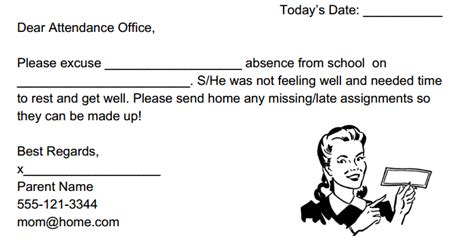 Excuse Letter Not Feeling Well Inthesauce School Absent Note Template
