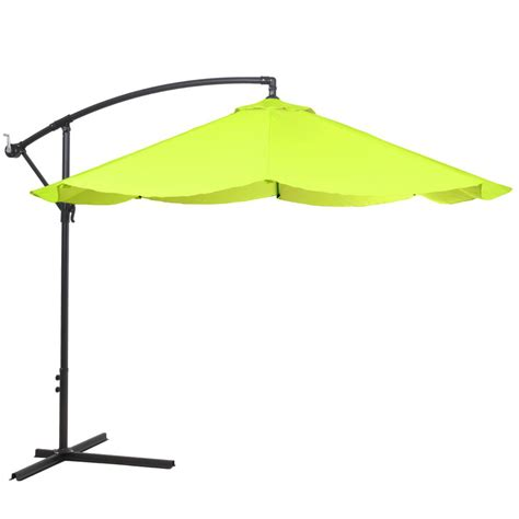 Lime Green Patio Umbrella Garden 10 Ft Offset Aluminum Hanging Patio Umbrella In Lime Green M150068 The Home Depot