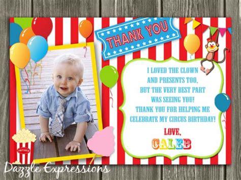 Circus Thank You Cards Printable circuscarnival thank you card printable