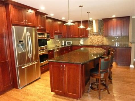 cherry kitchen cabinets with granite countertops kitchen in rolling meadows cherry look cabinets with dark