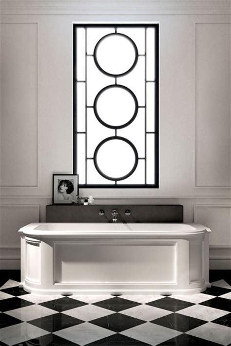 White Bathroom Vanity Ideas by Art Deco Design In Black And White Bathroom Design Ideas