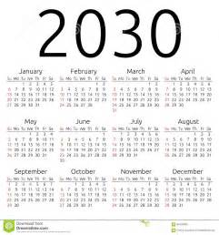 vector calendar 2030 sunday stock vector image 62409285