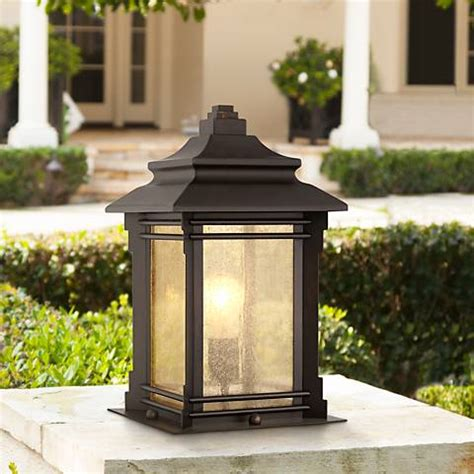 pier mount lights hickory point 16 1 2 quot walnut bronze outdoor pier mount