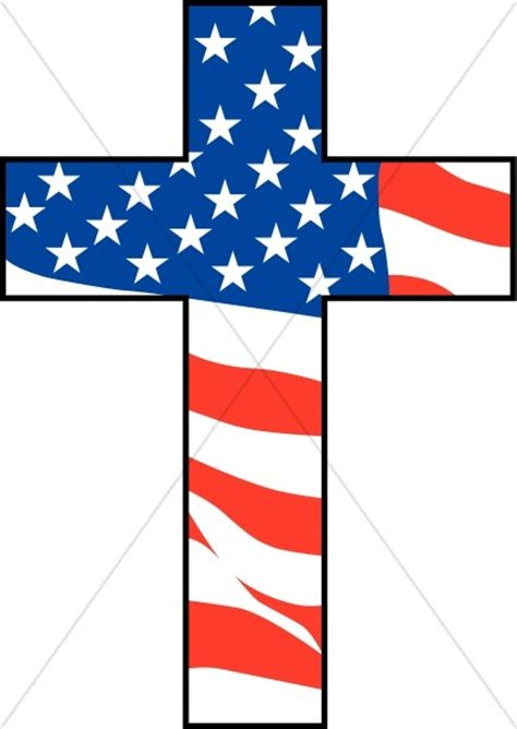 American Cross cross with american flag independence day clipart