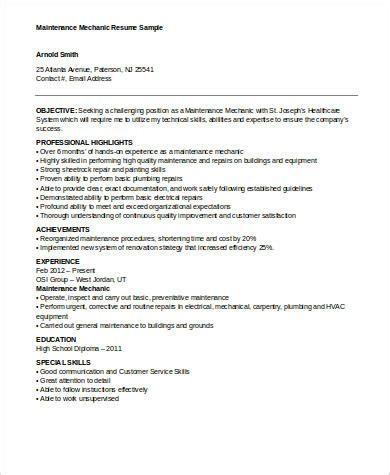 9 Sle Mechanic Resumes Sle Templates Maintenance Mechanic Resume Template